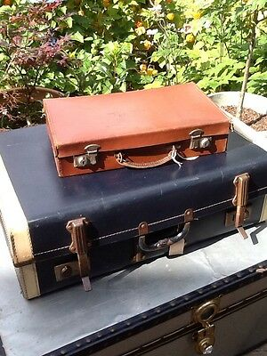 Great 1940s Vintage Small Brown Leather Suitcase #2898