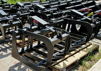 """New HD 60"""" Skid Steer Root Grapple Bucket Twin Cylinder - Bobcat - Universal fit"""