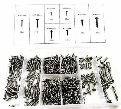 410pc Stainless Steel Metal Self Tapping Screw Assortment Screws M3 - M5 HW012