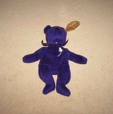 TY Beanie Baby - PRINCESS Diana Bear PVC Pellets - Made in Indonesia -1997 nwt