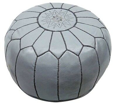 """22"""" Moroccan Gray Pouf leather Ottoman Footstool Pouffe Hassock New Pouff poof"""
