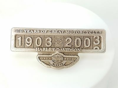 100th Anniversary Harley Davidson Sterling Silver 1903-2003 Pin Limited Edition