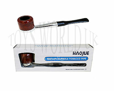 Haojue Long Smoking Wooden Look Pipe For Tobacco Good Quality Present New Boxed