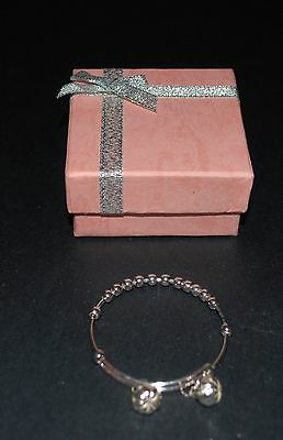 Baby Bangle - 12cms - Silver with Bells - Adjustable - Gift Box