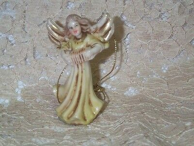 """Vintage Italy Girl Angel Playing Accordion Ornament Figurine 2 3/4"""" Tall Plastic"""
