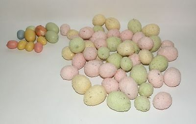61 Miniature Easter Eggs  Sugar Styrofoam Crafts Decoration Yellow Pink Green