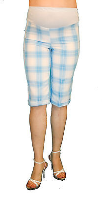 71529dbb0e703 Plad Baby Blue Maternity Capri Pregnancy Bottoms Pants Cropped Confy Elastic
