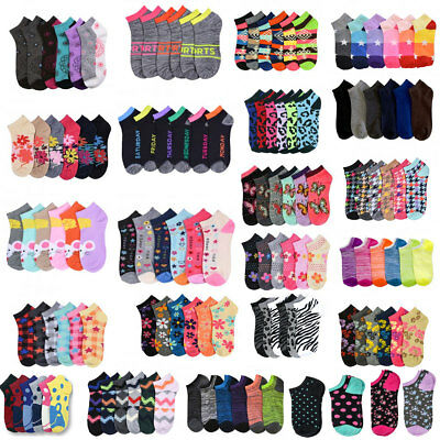 24-600 pairs  Wholesale Lot Women Mixed Assorted Designs Ankle Low Cut Socks