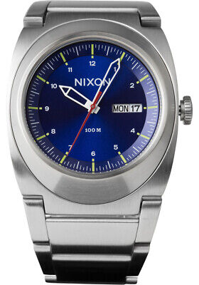 NWT New Mens 40mm NIXON Don II A358-1258 Siver Case & Bracelet with Blue Dial
