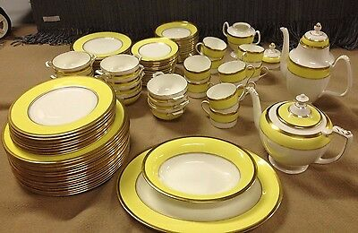 Coalport 93 Pc Athlone Yellow Gold Band Vintage Dinner & Tea Service China Set
