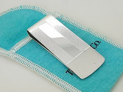 Old Tiffany & Co Sterling Silver Engine Turned Strip Money Clip Holder Pouch