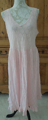 Vintage Maidenform Full Pink Slip All Lace Nylon Stretch Lingerie Petticoat L