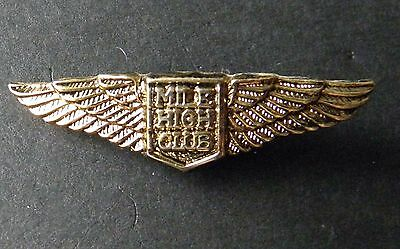 Mile High Club Mhc Aviation Gold Color Wings Lapel Pin Badge 1.2 Inches