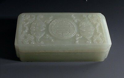 """Antique Large Chinese White Jade Carvings Box, 4 1/4"""" Long.  late 19th Century"""