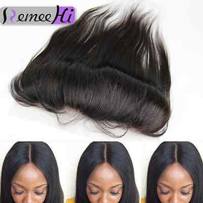 8A Lace Frontal 13x2 Peruvian Indian Human Hair Straight Lace Closure Ear To Ear