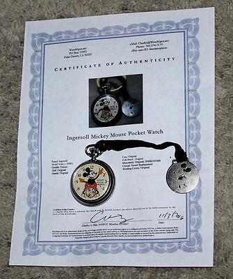 Ex!:mickey Mouse 1934 Ingersoll Pocket Watch-Working&keeps Time+Fob & Strap+Coa