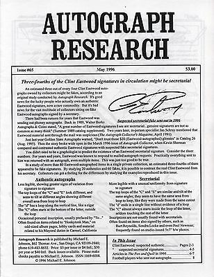 Autograph Research #65 May 1996; Clint Eastwood fake signature study; secretary
