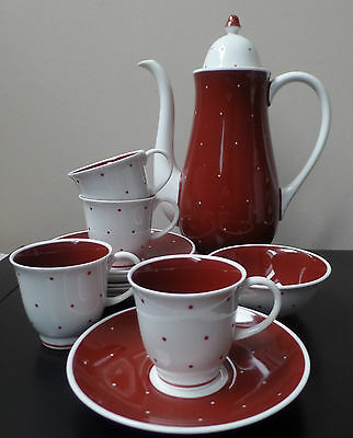 Susie Cooper China - Red Spot Polka Dot - Coffee Pot Set - Excellent