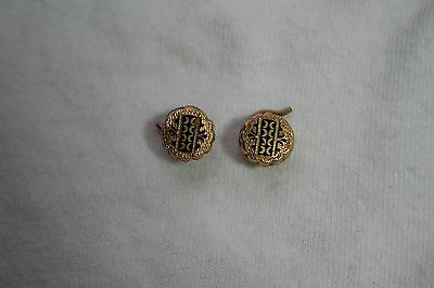 Antique Gold Fill & Black Enamel Shirt Studs Coiled Screw Back Pins