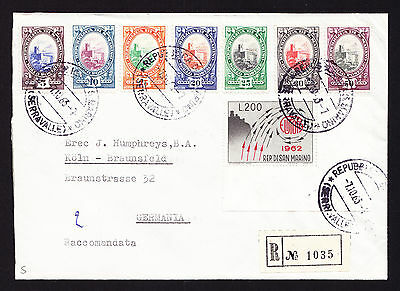 1963 registered cover from the Republic of San Marino to Germany Einschreiben
