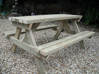 Wooden Picnic Table Bench Pub Garden Outdoor Pressure Treated