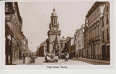 Moray  Forres Real Photo of the High Street Animated Scene -cars- bikes
