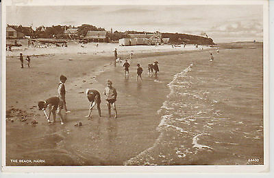 Nairn RP  The Beach Posted 1940'