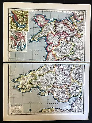 Vintage Map 1920, Wales/inset of Cardiff & Liverpool - Harmsworth's Atlas