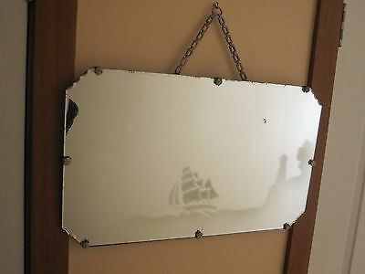 Lovely Art Deco Era Mirror With A  Scalloped Corners & Original Chain
