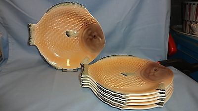 "Vintage Set Of 6 Shorter & Son 9"" Fish Plates"