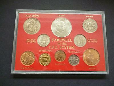 Farewell To £.s.d. System Uncirculated Cased 10 Coin Set. Includes 1965 Crown.