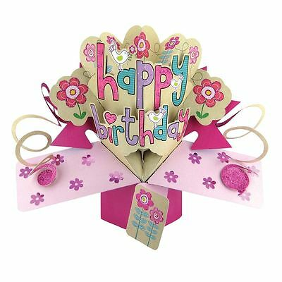 Second Nature Female Happy Birthday with Flowers and Birds Pop Up Greeting POP86