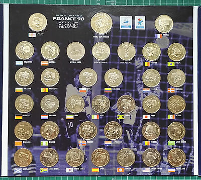 WORLD CUP - 1998 WORLD CUP FINALS FRANCE OFFICIAL 22 CT GOLD PLATED SET x 36