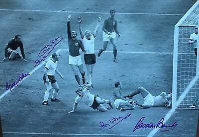 England 1966 World Cup Signed Ray Wilson George Cohen Jack Charlton Gordon Banks