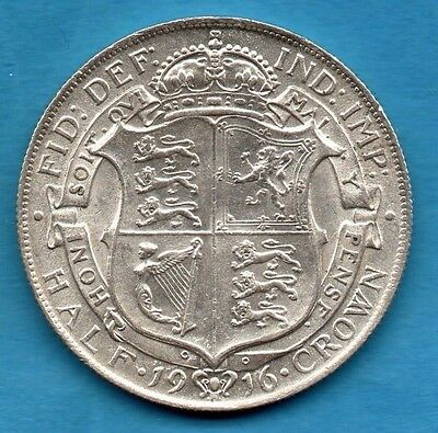 1916 King George V Half Crown Silver Coin.  Halfcrown In Lovely Condition.