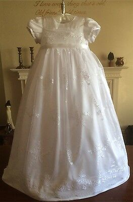 New Girls Long White Christening Baptism Dress Gown + Headband 3 6 9 12 M + Box