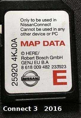 SD Nissan GPS Connect 3 Europe 2016 carte neuve et d'origine