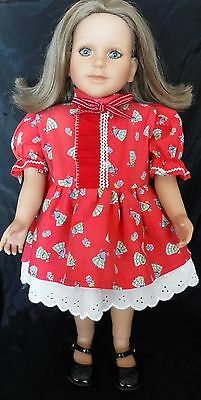 "FITS MY TWINN 23"" doll clothes RED PARTY DRESS w/ EYELET SKIRT & BLOOMERS"