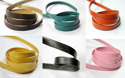 40 Colors 10mmx2mm Flat Real Leather Bracelet Cord, 10mm Wide Leather Strips