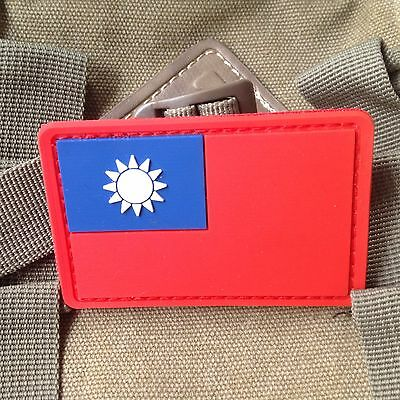 3D Pvc Red Taiwan Flag Tactical Army Morale Rubber Patch