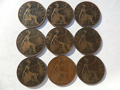 9 Old British Edward Vii Date Run One Penny Coins From 1902 To 1910