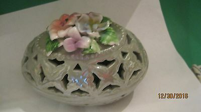 Ceramic  Hand Painted  EASTER GREEN FLORAL TRINKET DISH