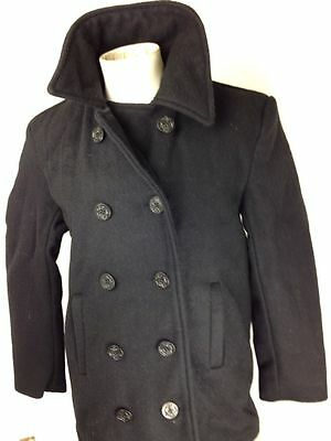 Mens Wool US Navy Type Peacoat Reefer Coat Black Mariner Jacket by Rothco Size S