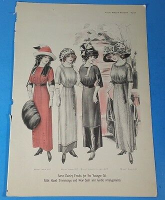 Vintage 1911 Woman's Fashion *SOME DAINTY FROCKS FOR THE YOUNGER SET* Print Ad