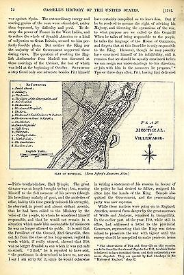 Plan Of Montreal Or Villemarie * Historical Memorabilia