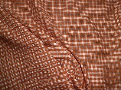 Vintage 1950's Woven Check Cotton Dress Fabric Rust
