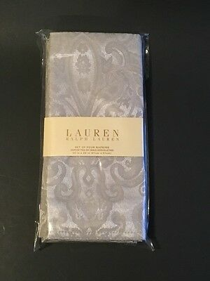 Ralph Lauren Cloth Dinner Napkins NEW 4 Paisley Silver Holiday Christmas