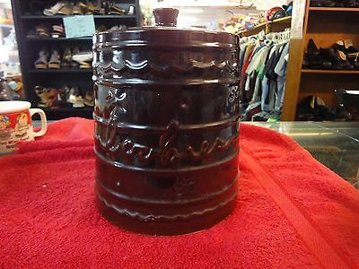 Marcrest Ovenproof Stoneware USA made brown Large cookie jar w/ lid