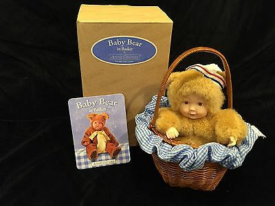 "Anne Geddes Baby Bear in Basket 5"" Doll in Basket with Box and Papers"