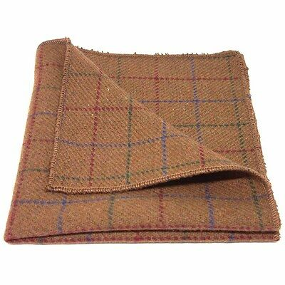 Heritage Check Rustic Brown Pocket Square, Tweed, Handkerchief
